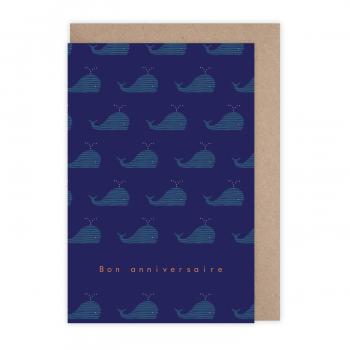 Card Anniversaire baleine...