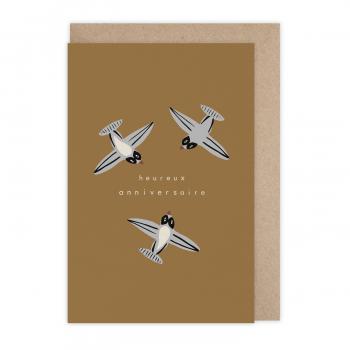Card Anniversaire Hirondeaux