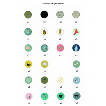 Set of 60 badges Nature
